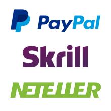 Paypal, Netellet und Skrill logo